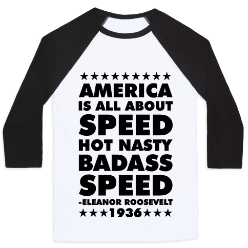 America is All About Speed Baseball Tee
