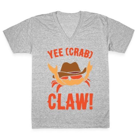 Yee Crab Claw Yee Haw Crab Parody White Print V-Neck Tee Shirt
