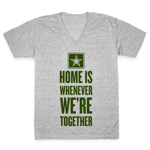 Army Home (Army Tank) V-Neck Tee Shirt