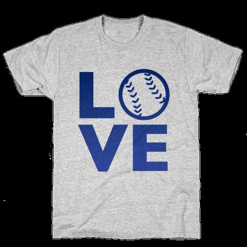 Love Baseball (Blue) Mens T-Shirt