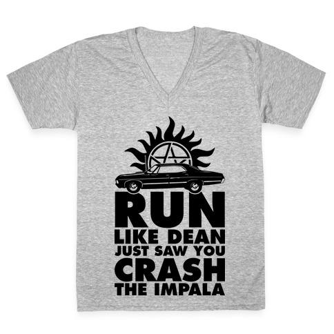 Run Like Dean Just Saw You Crash the Impala V-Neck Tee Shirt