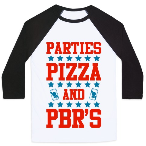 Pizza, Party, and PBR Baseball Tee
