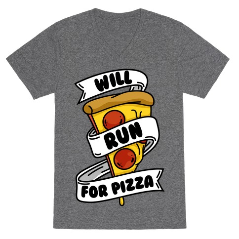 Will Run For Pizza V-Neck Tee Shirt