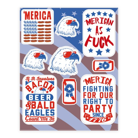 'Merica Patriotic Party Sticker/Decal Sheet