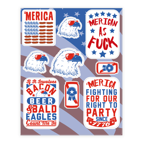 'Merica Patriotic Party Sticker and Decal Sheet