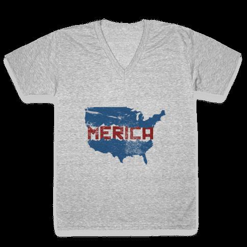America F*** Yeah V-Neck Tee Shirt
