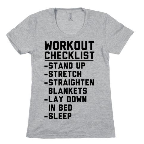Workout Checklist Womens T-Shirt