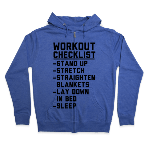 Workout Checklist Zip Hoodie