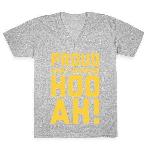 Proud Army Husband (Army Tank) V-Neck Tee Shirt
