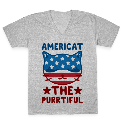 Americat The Purrtiful V-Neck Tee Shirt