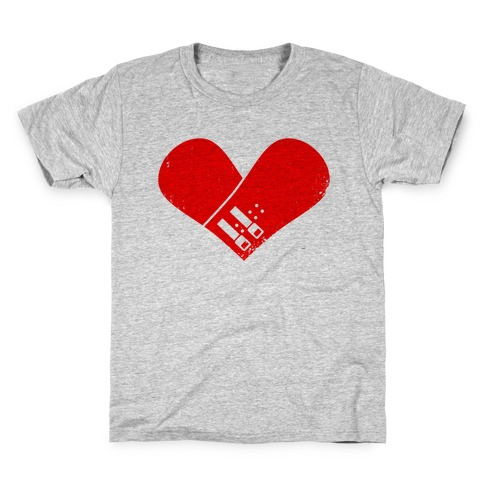 Snowboard Heart (Red) Kids T-Shirt