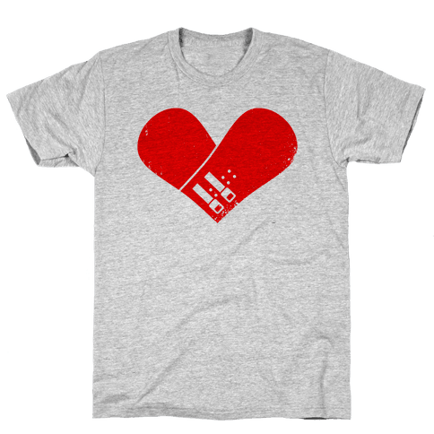 Snowboard Heart (Red) Mens T-Shirt