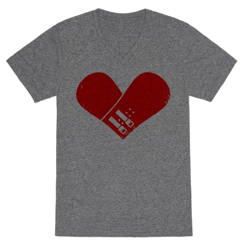 Snowboard Heart (Red) V-Neck Tee Shirt