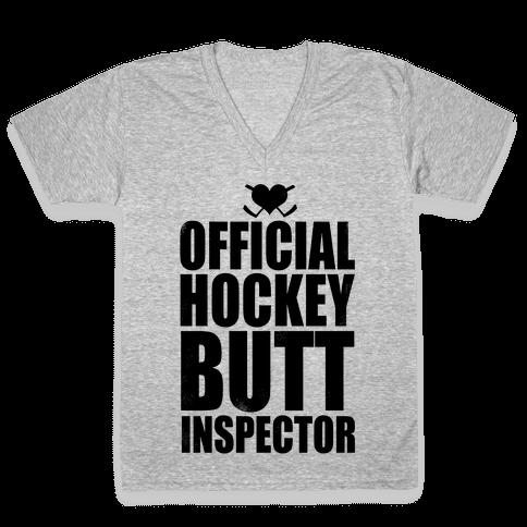 Official Hockey Butt Inspector V-Neck Tee Shirt