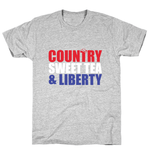 Country, Sweet Tea, Liberty Mens T-Shirt
