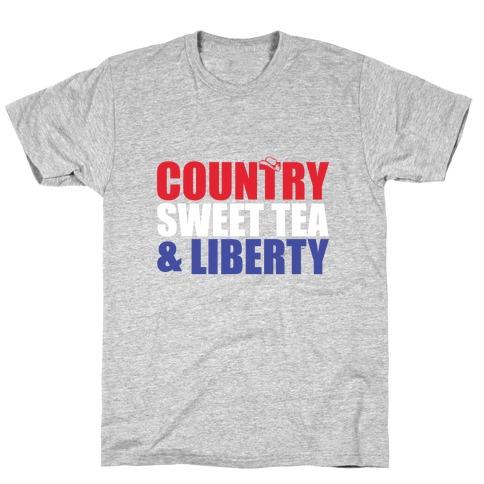 Country, Sweet Tea, Liberty Mens T-Shirt