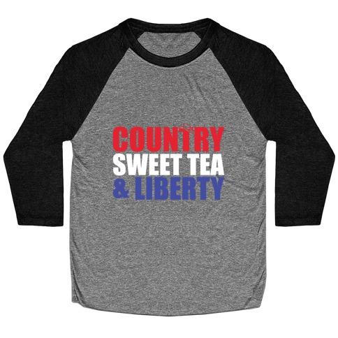 Country, Sweet Tea, Liberty Baseball Tee