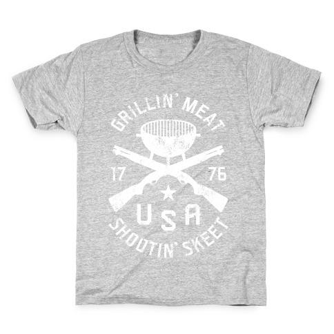 Grillin' Meat Shootin' Skeet Kids T-Shirt