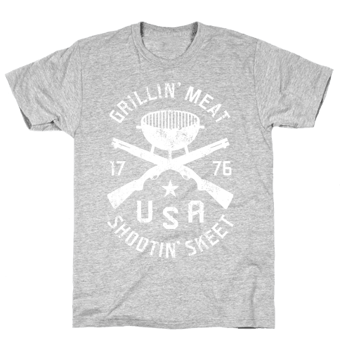 Grillin' Meat Shootin' Skeet Mens T-Shirt