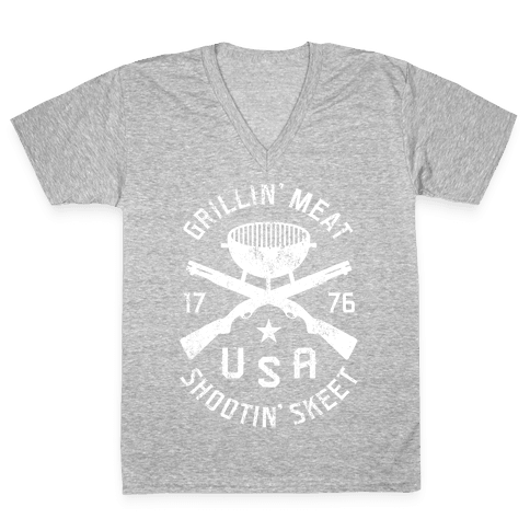 Grillin' Meat Shootin' Skeet V-Neck Tee Shirt