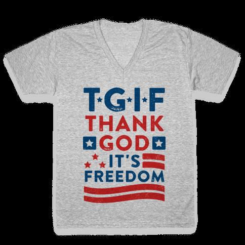 TGIF - Thank God It's Freedom (Patriotic Tank) V-Neck Tee Shirt
