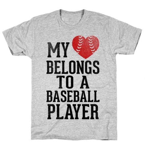 My Heart Belongs To A Baseball Player (Red Heart) Mens T-Shirt