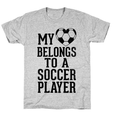 My Heart Belongs to A Soccer Player (Baseball Tee) T-Shirt