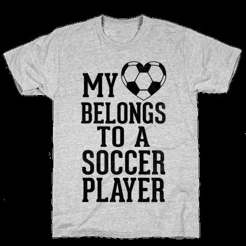 My Heart Belongs to A Soccer Player (Baseball Tee) Mens T-Shirt