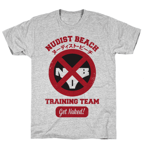 Nudist Beach Training Team Mens T-Shirt