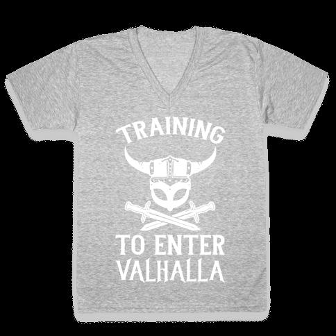 Training To Enter Valhalla V-Neck Tee Shirt
