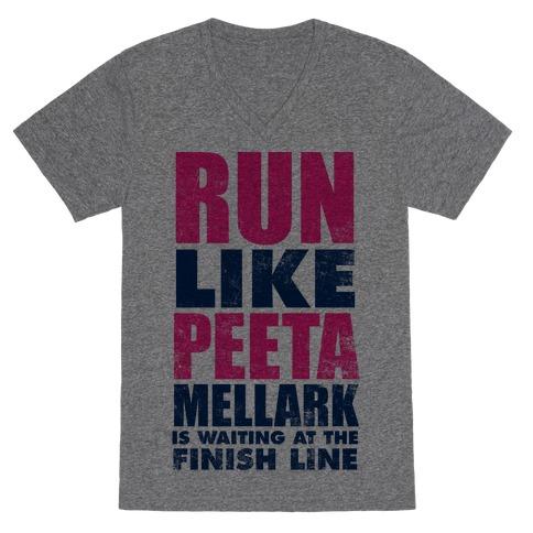 Run Like Peeta Mellark Is Waiting At The Finish Line V-Neck Tee Shirt