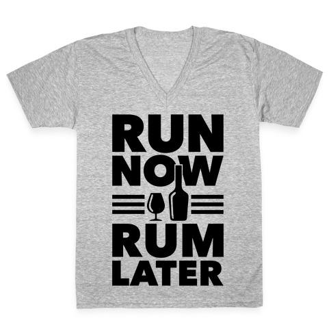 Run Now Rum Later V-Neck Tee Shirt