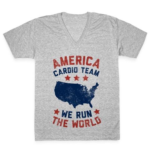 America Cardio Team (We Run The World) V-Neck Tee Shirt