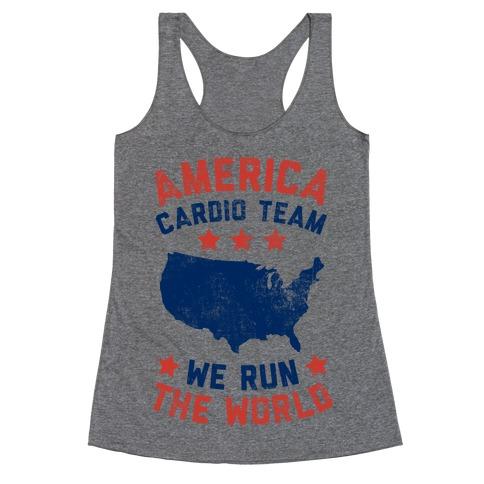 America Cardio Team (We Run The World) Racerback Tank Top
