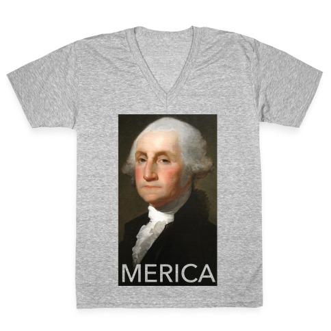 Washington's Merica V-Neck Tee Shirt
