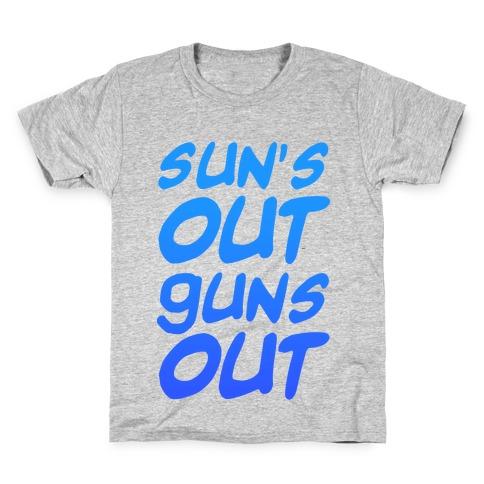 Sun's Out Guns Out (Blue) Kids T-Shirt