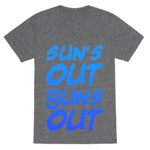 Sun's Out Guns Out (Blue) V-Neck Tee Shirt