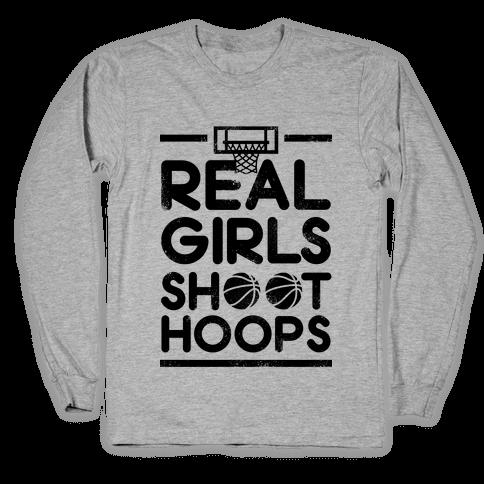 Real Girls Shoot Hoops (Vintage) Long Sleeve T-Shirt