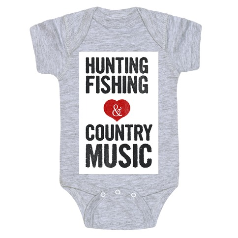 Hunting, Fishing, and Country Music Baby Onesy