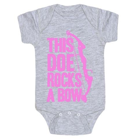 This Doe Rocks a Bow Baby Onesy