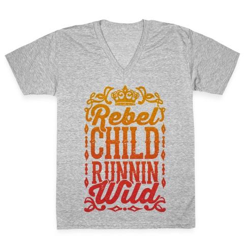 Rebel Child Runnin' Wild V-Neck Tee Shirt