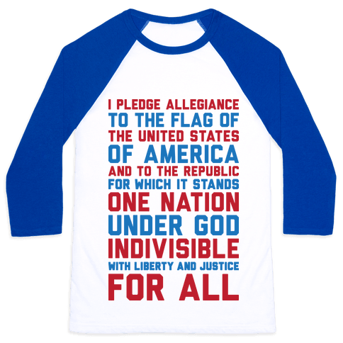 Pledge Of Allegiance Baseball Tee