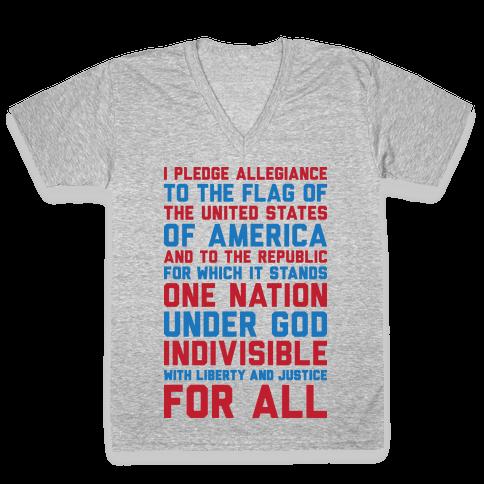 Pledge Of Allegiance  V-Neck Tee Shirt