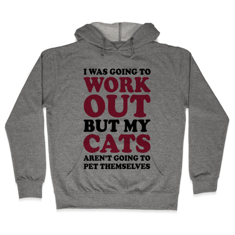 I Was Going To Workout But My Cats Aren't Going To Pet Themselves Hooded Sweatshirt