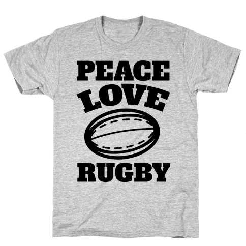 Peace Love Rugby Mens T-Shirt