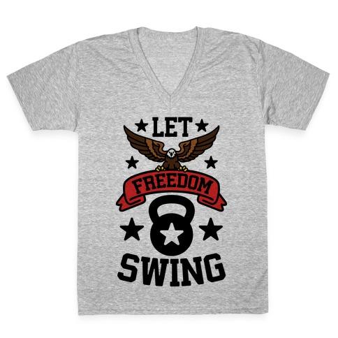 Let Freedom Swing V-Neck Tee Shirt