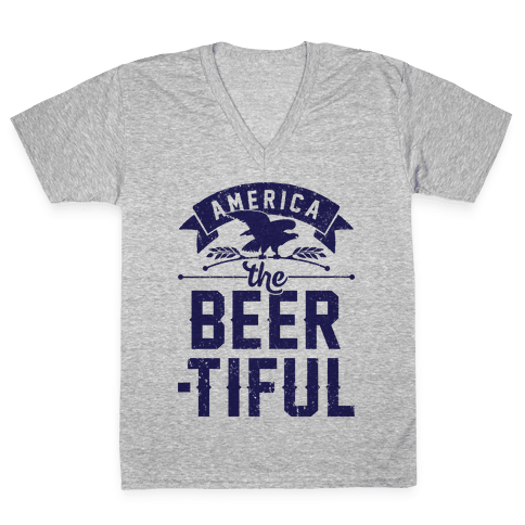 America The Beer-tiful V-Neck Tee Shirt
