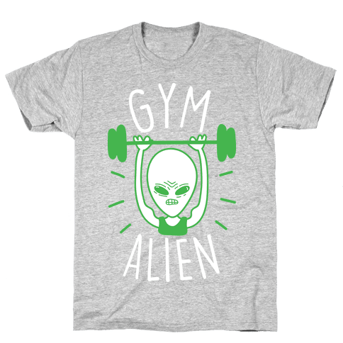 Gym Alien Lifting Mens T-Shirt