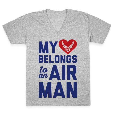My Heart Belongs To An Airman V-Neck Tee Shirt