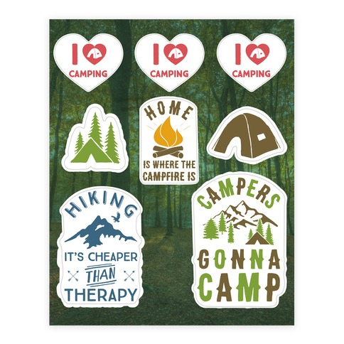 Camping Sticker and Decal Sheet